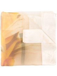 Faliero Sarti Panel Scarf Men Silk One Size Yellow Orange