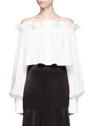 Jh.Zane Ruffle Off Shoulder Cropped Shirt White