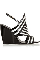 Pierre Hardy Two Tone Patent Leather Wedge Sandals Black