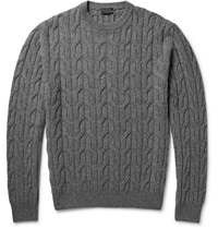Lanvin Cable Knit Wool Sweater Gray