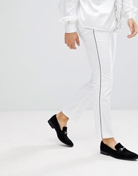 Noose And Monkey Super Skinny Pants In Cotton Sateen With Side Stripe White