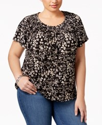 Style And Co Plus Size Floral Print Pleated Neck Top Only At Macy's Deep Black Combo