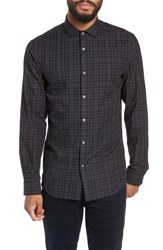 Calibrate Big And Tall Slim Fit Check Flannel Sport Shirt Black Heather Navy Check