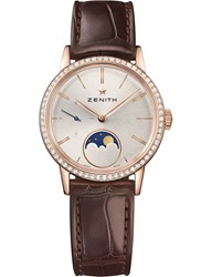 Zenith 22.2330.692 01.C713 Elite Lady Moonphase Alligator Leather And Diamond Watch Brown