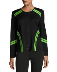 Ming Wang 24 L Contrast Trim Knit Jacket Black Green
