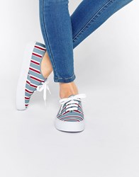 Asos Dixie Lace Up Trainers Stripe Multi
