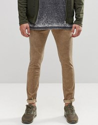 Asos Super Skinny Chinos In Khaki With Oil Wash Ermine Green