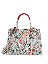 Prada Floral Calf Leather Double Zip Tote Bianco Azzurro