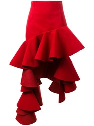 Jacquemus Ruffled High Low Skirt Red