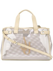 Armani Jeans Transparent Panel Shoppong Tote Women Plastic Polyurethane One Size Nude Neutrals