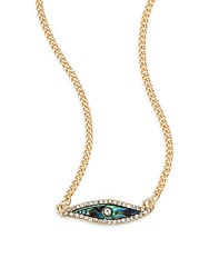 Rachel Roy Iridescent Evil Eye Pendant Necklace Gold Multi