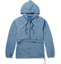 Beams Cotton Blend Hooded Anorak Blue