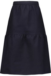 Mother Of Pearl Sydney Tiered Cotton Twill Skirt Midnight Blue