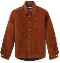 Jacquemus Boulanger Oversized Cotton Corduroy Overshirt Brown