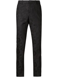 Alexander Mcqueen Floral Jacquard Straight Leg Trousers Black