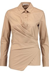 Carven Gathered Cotton Poplin Shirt Camel
