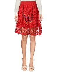 Mnml Couture Knee Length Skirts Red