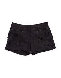 Fate Faux Suede Fringe Shorts Black