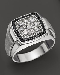 Bloomingdale's Men's 14K White Gold And Diamond Cluster Ring