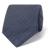 Tom Ford 8Cm Herringbone Woven Silk And Cotton Blend Tie Navy