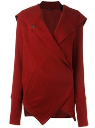 Ann Demeulemeester Wrap Detail Cardigan Red