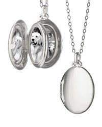 Monica Rich Kosann Silver Satin Finish 4 Image Oval Locket Necklace Unassigned