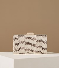 Reiss Hoxton Snake Skin Box Clutch In Ecru