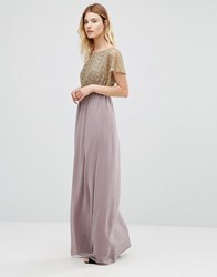 Traffic People Maxi Dress With Metallic Lace Top Mauve Purple