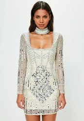 Missguided White Choker Neck Embellished Bodycon Dress