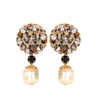 Dolce And Gabbana Leopard Printed Clip On Earrings Brown