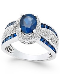 Macy's Sapphire 2 3 4 Ct. T.W. And Diamond 1 3 Ct. T.W. Ring In 14K White Gold