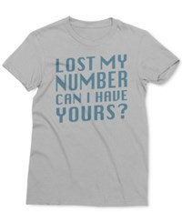 Mighty Fine Men's Lost Without Your Number Graphic Print Cotton T Shirt Silver