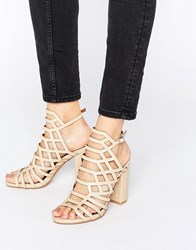 London Rebel Caged Block Heel Sandal Nude Pu Beige