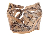 Isola Alisha Goat Pull Up Tan Python Snake Women's Wedge Shoes Animal Print