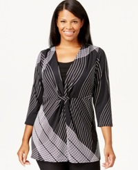 Ny Collection Plus Size Gathered Front Geometric Print Top