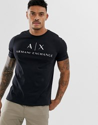 Armani Exchange Text Logo T Shirt In Black