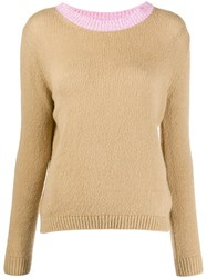 Avant Toi Contrast Neck Sweater Neutrals