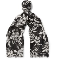 Saint Laurent Hibiscus Print Cashmere And Silk Blend Scarf Black