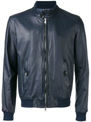 Jacob Cohen Leather Bomber Jacket Men Cotton Leather Viscose 48 Blue