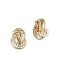 Anne Klein Pave Knot Clip On Stud Earrings Gold