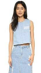 Sjyp Denim Pocket Crop Top Light Blue