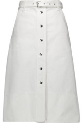 Rag And Bone Branson Belted Cotton Twill Skirt White