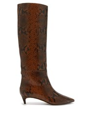 Jimmy Choo Maxima 35 Python Effect Leather Knee High Boots Tan Multi