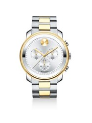 Movado Two Tone Stainless Steel Chronograph Bracelet Watch Silver