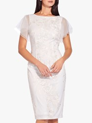 Adrianna Papell Sheer Angel Sleeve Sequin Tailored Dress Ivory
