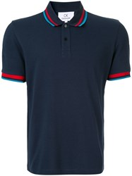 Ck Calvin Klein Stripe Detail Polo Shirt Blue