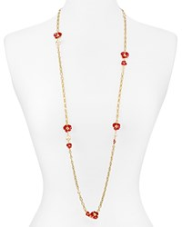 Tory Burch Fleur Rosary Necklace 42 Red