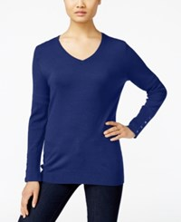 Jm Collection V Neck Button Cuff Sweater Only At Macy's Bright Sapphire