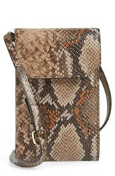 Nordstrom Leather Phone Crossbody Bag Beige Cosmetic Snake