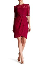 Taylor Belted Floral Lace Sheath Dress Red